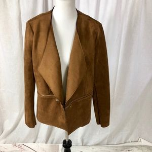 Just Fab faux suede open front jacket w/zip accent